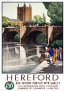 Hereford Cathedral & Old Wye Bridge. LMS Vintage Railway Travel Poster by Claude Buckle